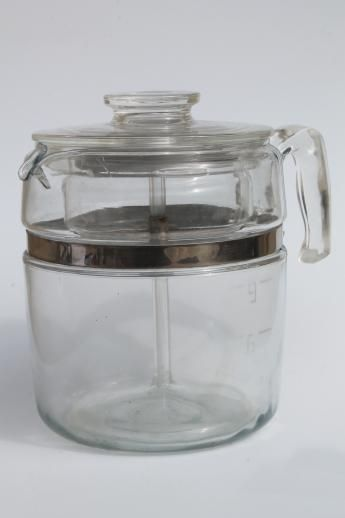 Vintage Pyrex Flameware 7759 Stovetop Percolator Nine Cup Clear Gl Coffee Pot