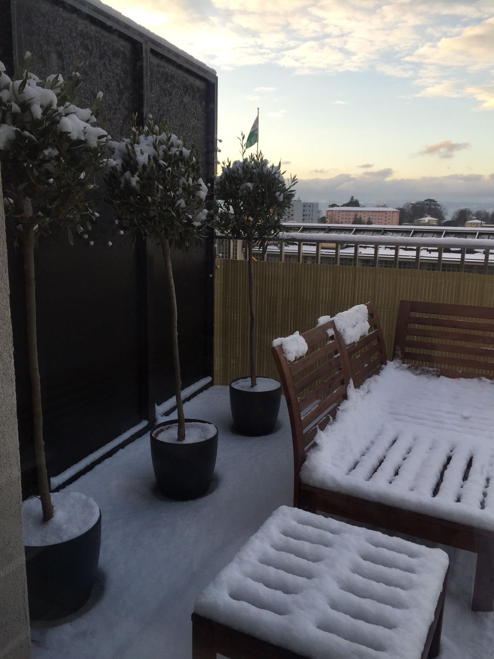 First snow on our balcony! #lausanne #suisse