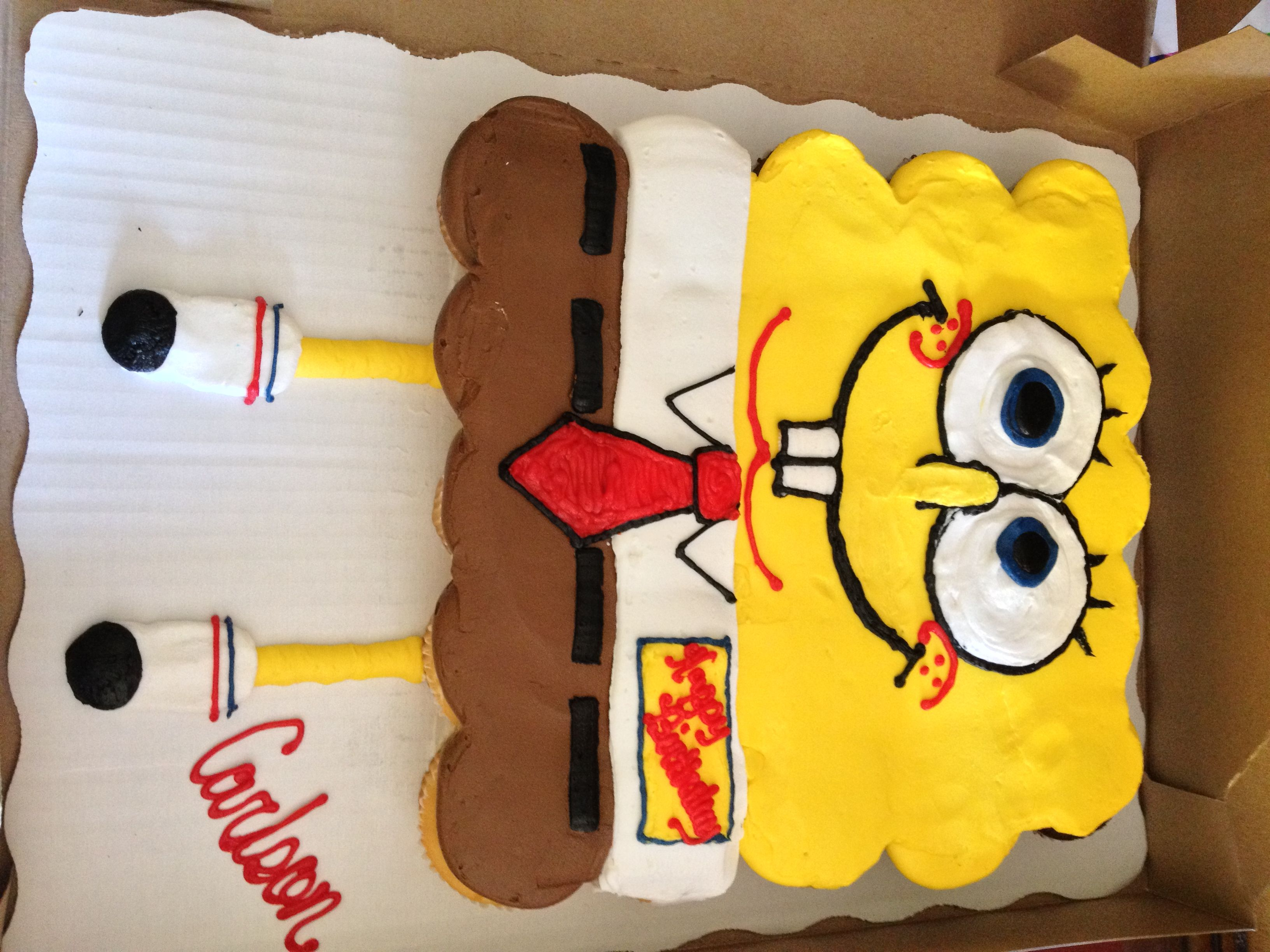 Spongebob Cupcake Cake From Walmart Only Pay For The Cost Of 2 Dozen Cupcakes 1498