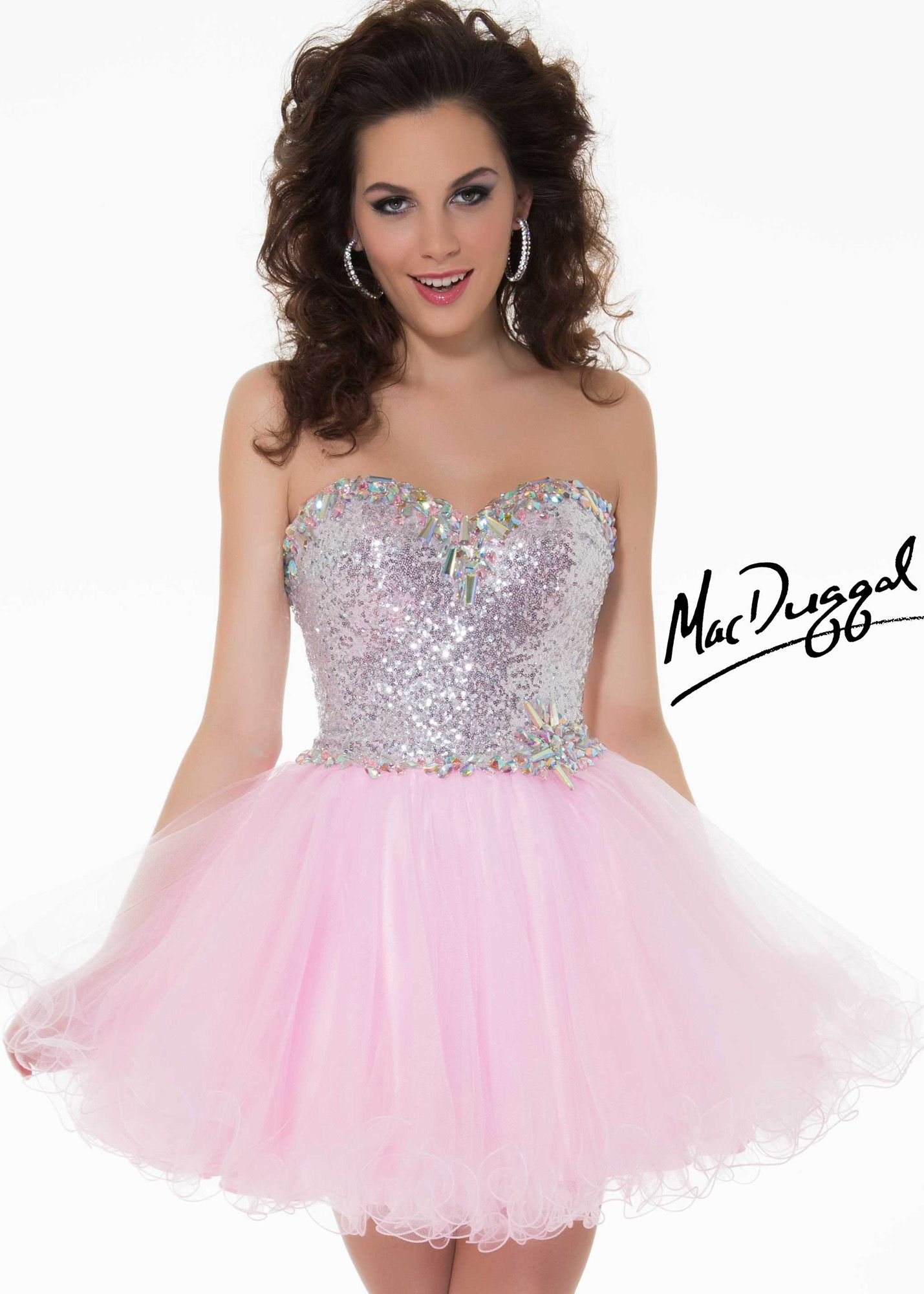 Mac duggal 64592n strapless pink sequin tulle