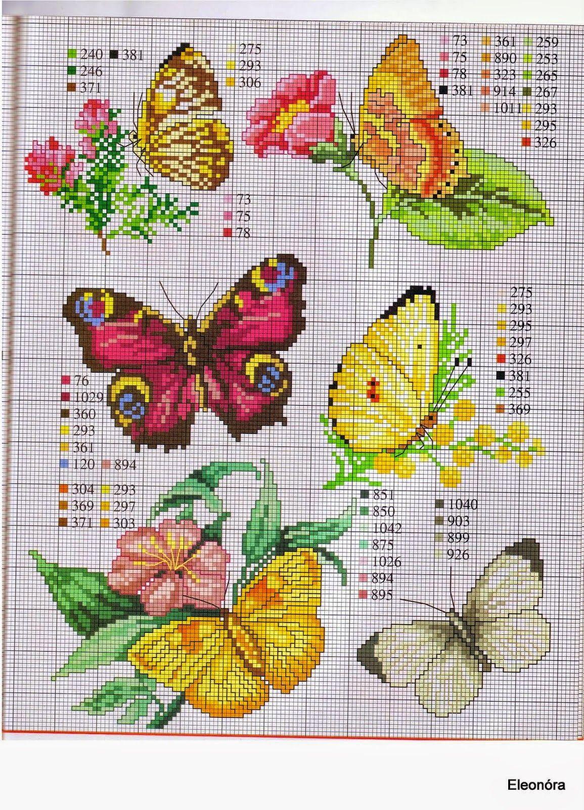 Punto croce schemi gratis e tutorial tante farfalle da for Farfalle da ricamare