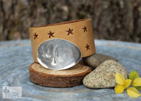 Personalized Star Leather Chick Cuff Bracelet by HenandChicksToo, $30.00