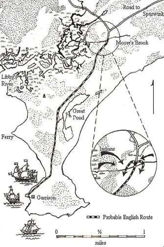 The Battle At Moore S Brook Scarborough Maine June 29 1677