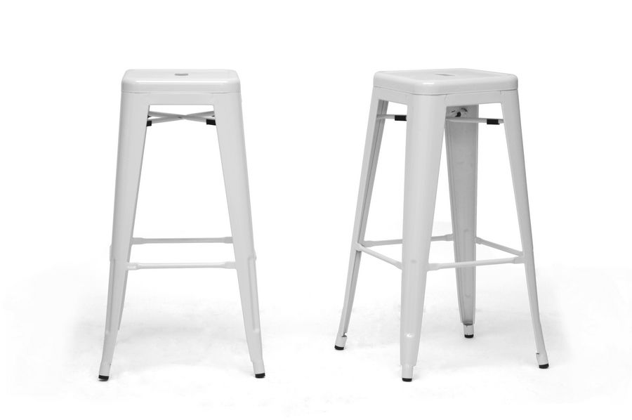 Caine Cafe Barstool, White (Set of 2)