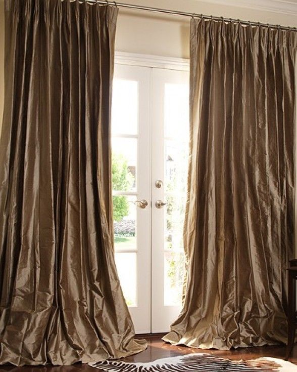 Faux Dupion Silk Curtains That Puddle On The Floor In White Or Pale Gray