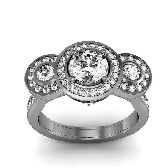 10K White Gold Diamond Engagement Ring Halo Design by WorldJewels