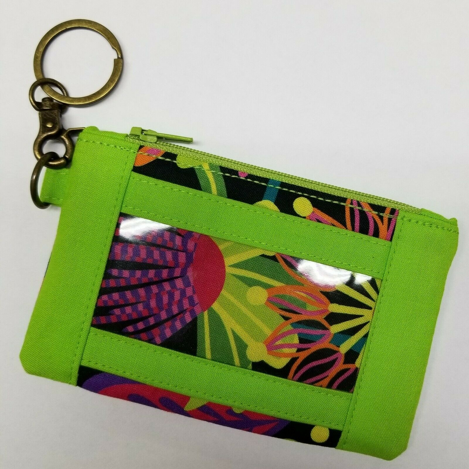 Black & Lime Green Multi Floral Key Fob ID Pouch Fobs