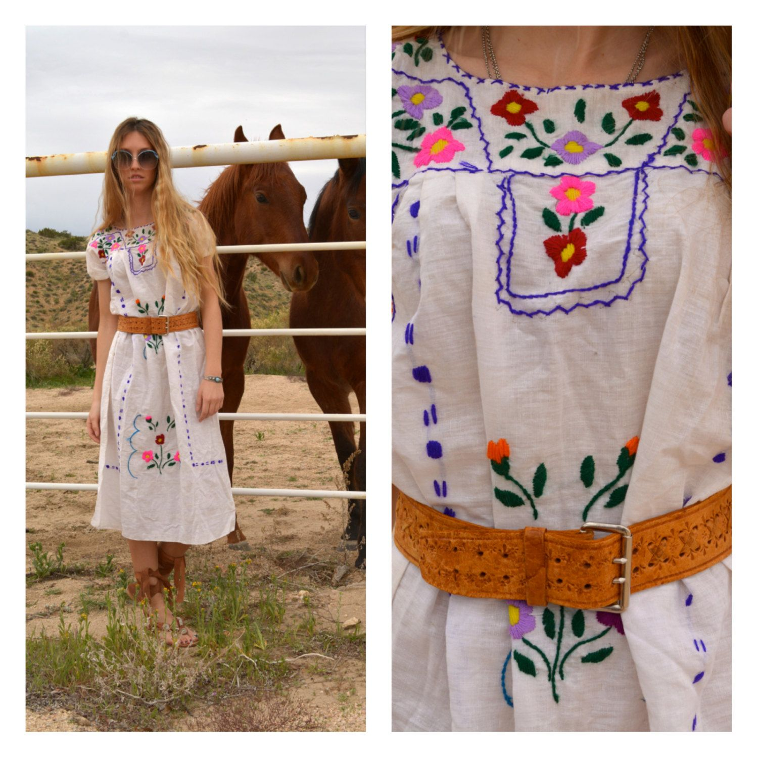 Hippie Masa Dress Embroidered Maxi Ethnic Embroidery Mexican Bright Colorful White Cotton Mexico Festival Coachella Summer Cotton Hand S by newagegypsy on Etsy