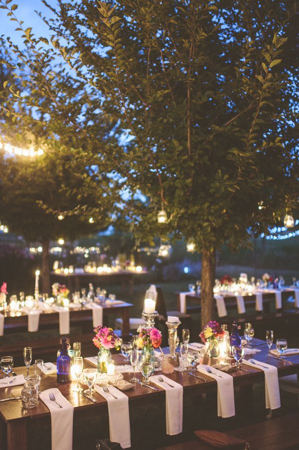 nighttime backyard reception, photo by Paper Antler http://ruffledblog.com/jackson-meadow-wedding #weddingreception #farmwedding