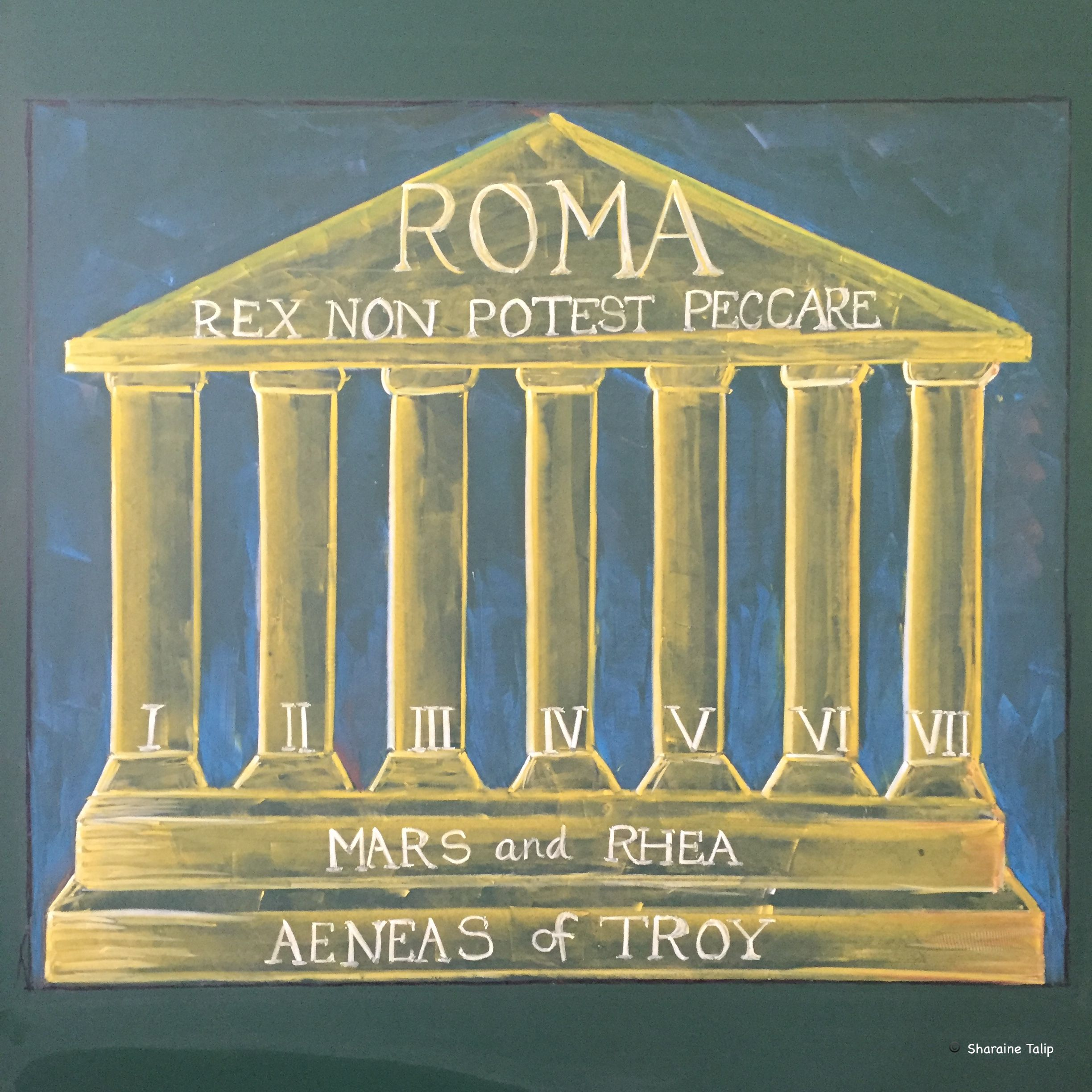 Ancient Rome I Main Lesson Chalkboard Drawing 6th Grade