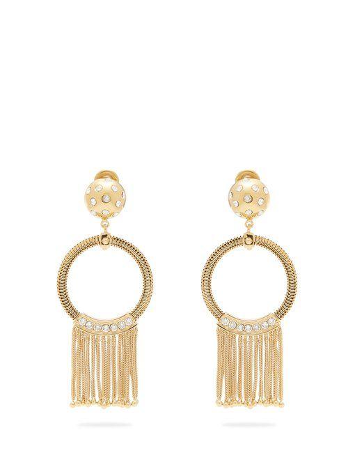 Prada Crystal-embellished tassel-drop clip-on earrings 86Qm5GtyWg