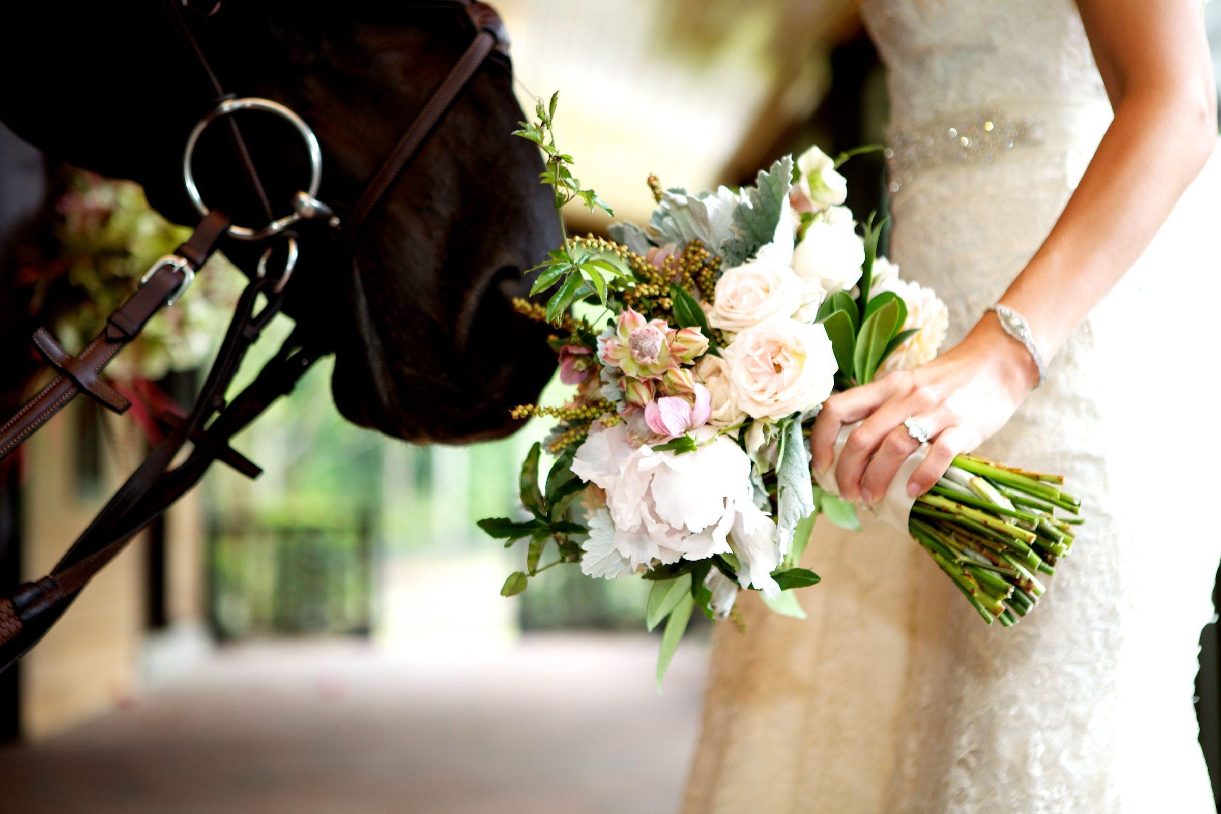 Equestrian bouquet with precious horse!! www.MadamPaloozaEmporium.com www.facebook.com/MadamPalooza