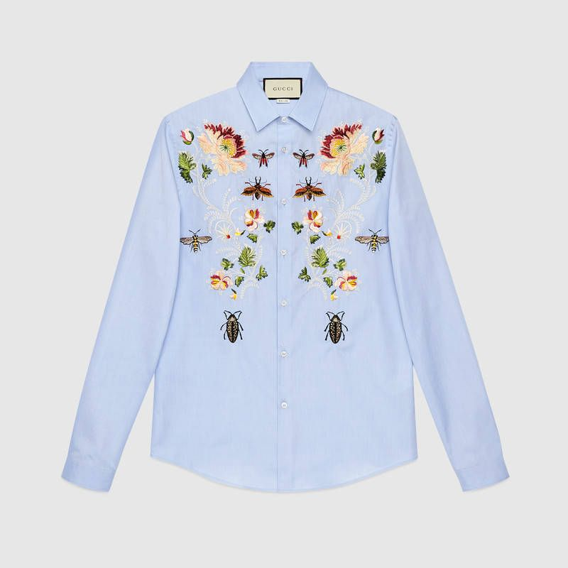291b0c05c Embroidered cotton Duke shirt - Gucci Men's Fashion 487051Z395E4850 ...