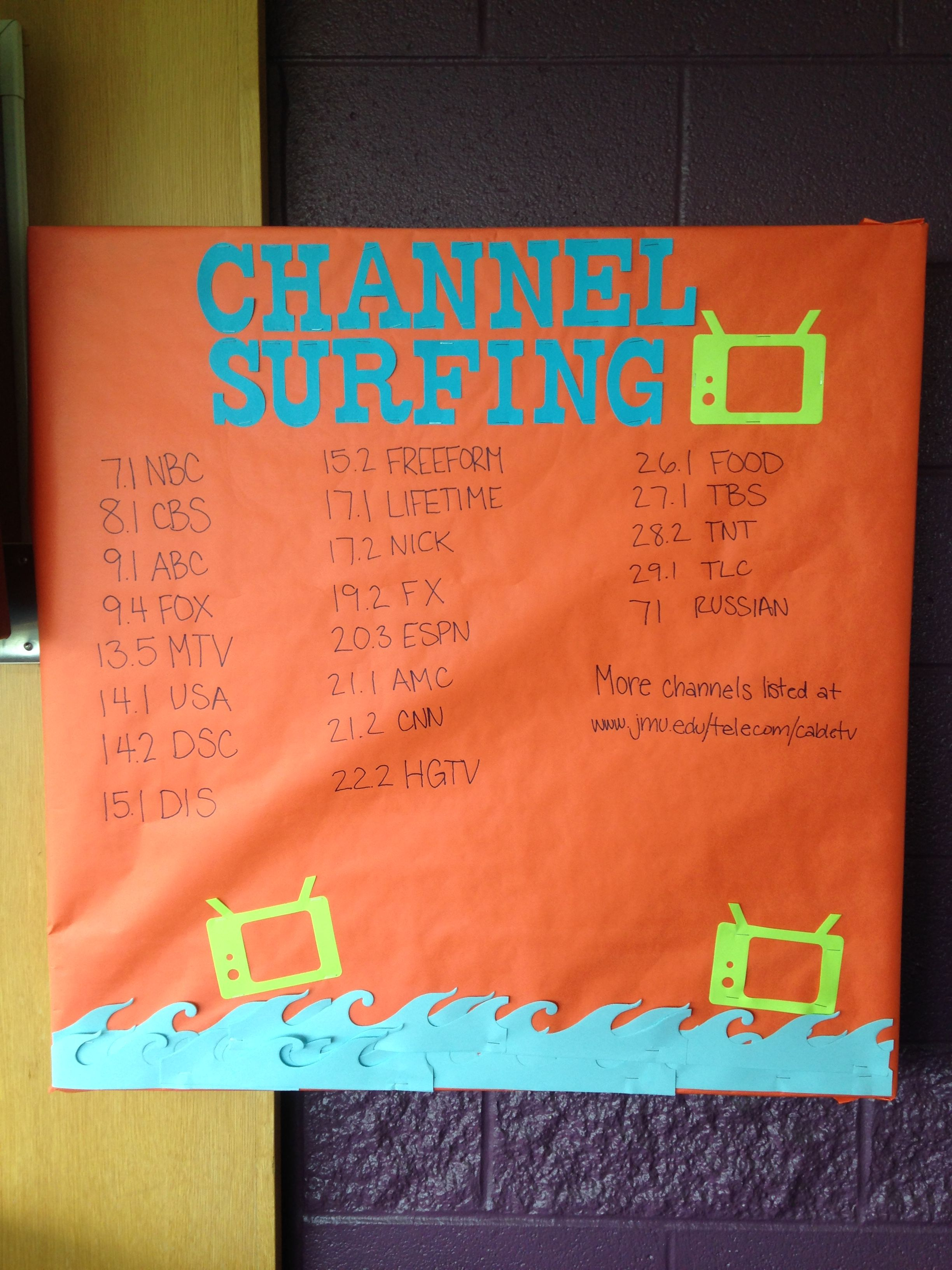 A kinda sloppy channel surfing board for the common room