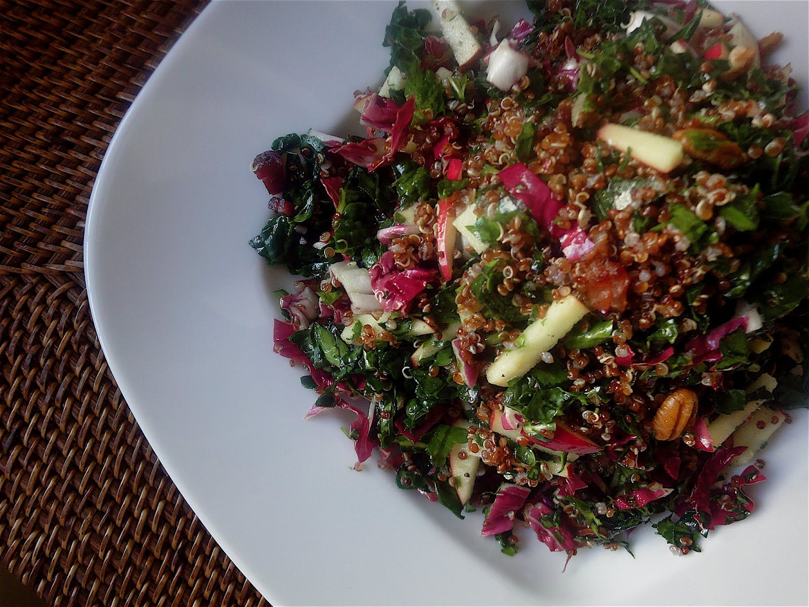 Kale, Apple and Pancetta Salad with Quinoa
