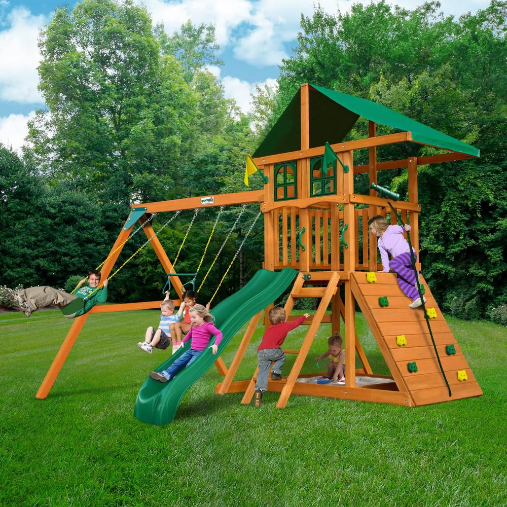 Gorilla playsets diy outing iii treehouse wooden swing set