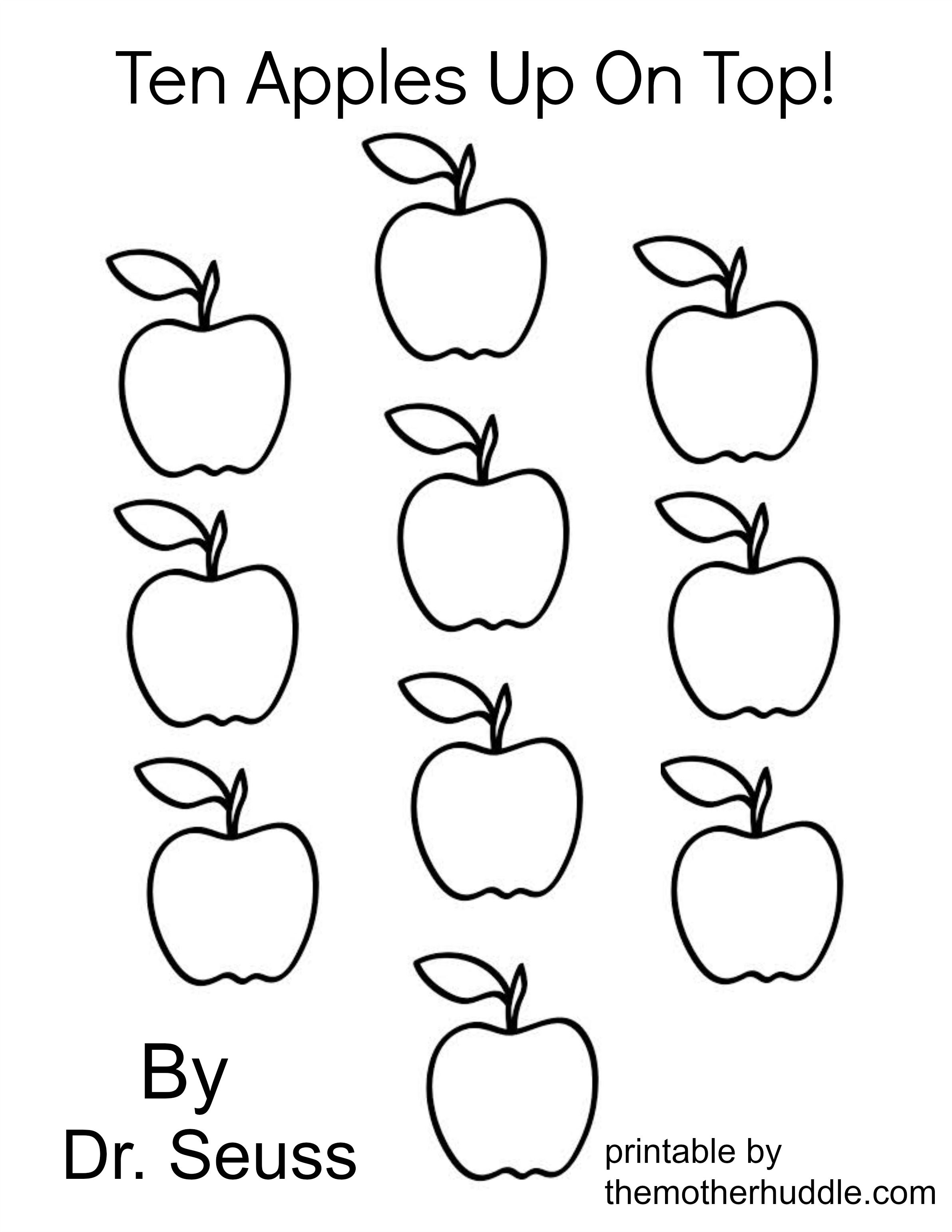 Dr Seuss March Series Ten Apples Up On Top Free Printable Dr Seuss Coloring Pages Dr Seuss Crafts Dr Seuss Activities