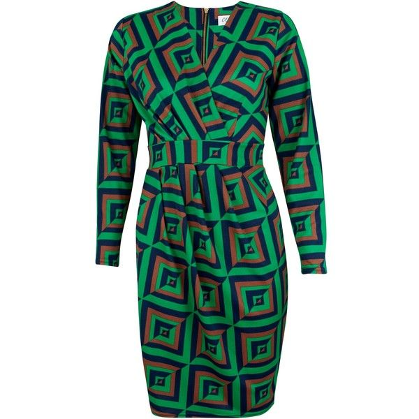 Closet Geo Print X Over Dress ($74) ❤ liked on Polyvore featuring dresses, green, women, vneck dress, tulip dress, shift dress, geometric print dress and structured dress