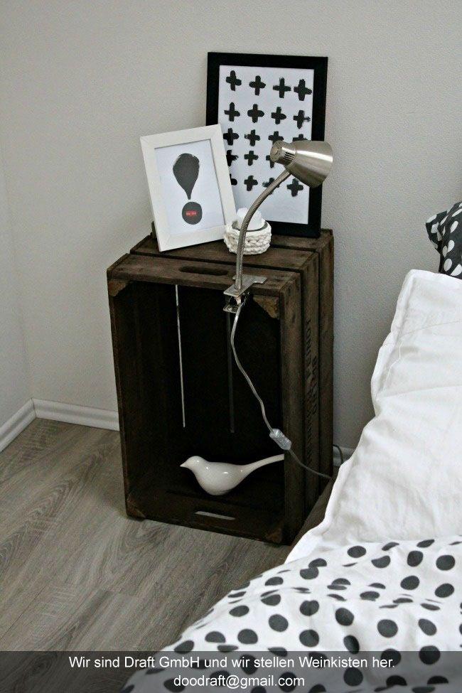 nachttisch aus weinkisten basteln und selbermachen wie es mir gef llt pinterest. Black Bedroom Furniture Sets. Home Design Ideas