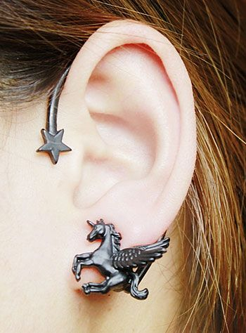 Dark Magic Unicorn and Star Wrap Earring Available at