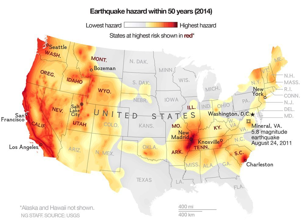 Earthquake Maps Reveal Higher Risks For Much Of US Prophecy - Earthquake map us