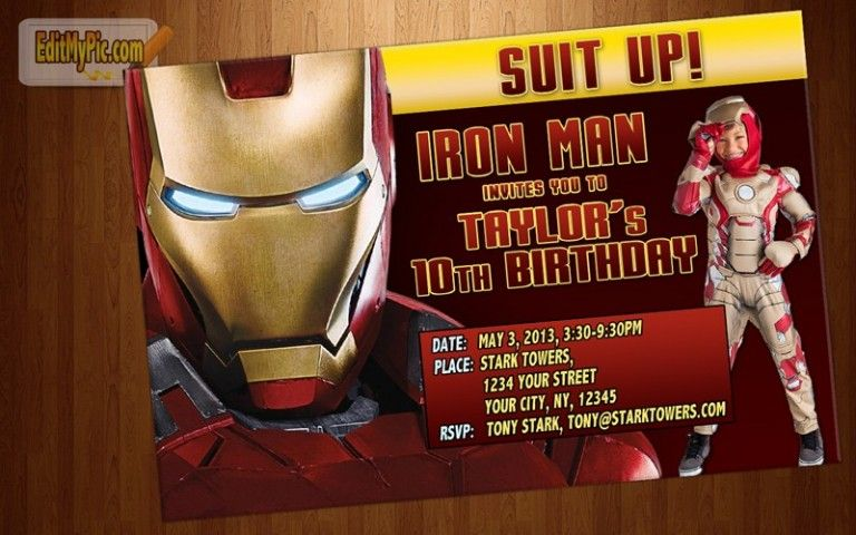 Ironmanbirthdaycustomizedinvitationphoto4x6 Birthday