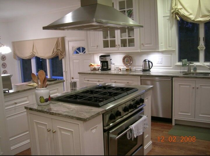 kitchen island with range retro clock center cook pinterest