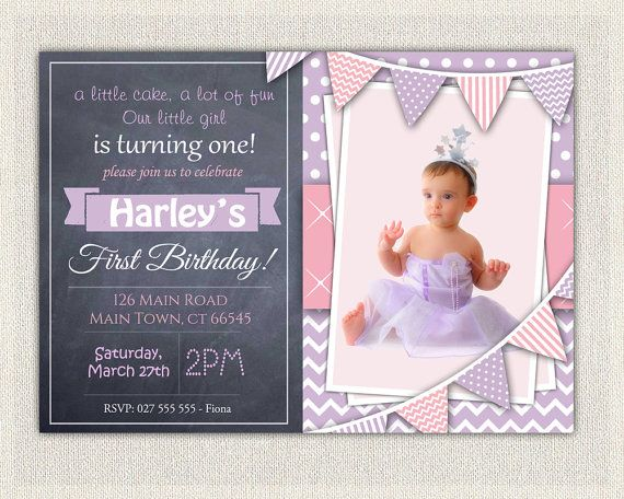 1st birthday invitation purple and pink girls chalkboard birthday