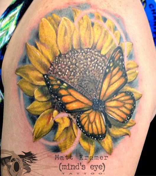 Butterfly and sunflower tattoo by Matt Kramer at Mind's Eye Tattoo 2 in Allentown, Pa.   https://www.facebook.com/mattkramertattoo  #tattoo #tattoos #tattooing #tattooed #love #mindseyetattoo #lehighvalley #Pennsylvania  #allentown  #Emmaus #flowertattoo #sunflower #butterfly #butterflytattoo