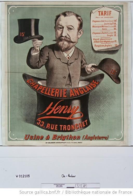 Anuncio de Sombreros de principios del siglo XX en Francia