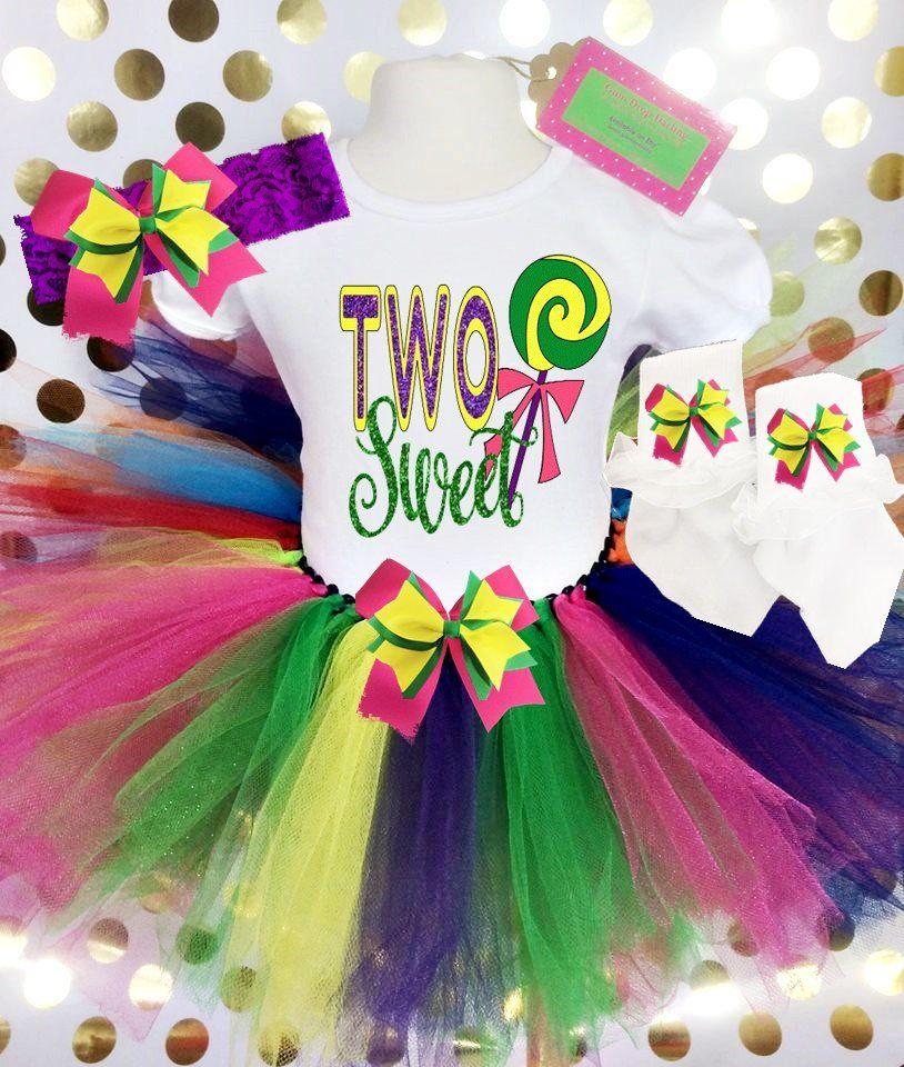 TWO Sweet lollipop Birthday Rainbow glitter baby girls