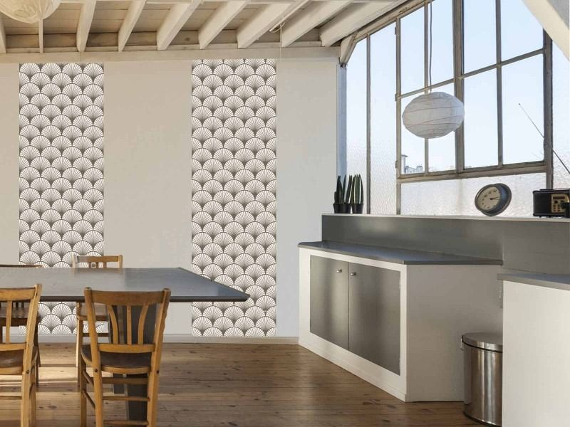 seigaiha beige papier peint autocollant repositionnable. Black Bedroom Furniture Sets. Home Design Ideas