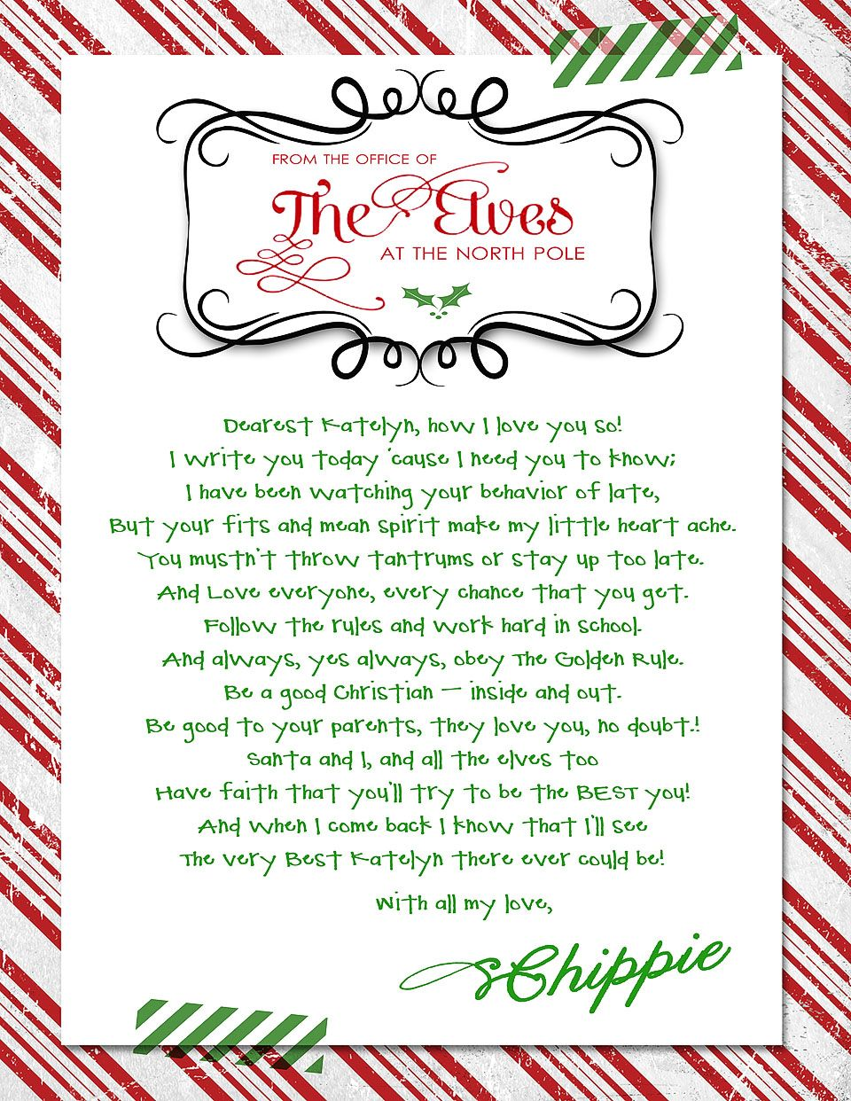 Off Season Letter from the Elf on the Shelf Reminder to