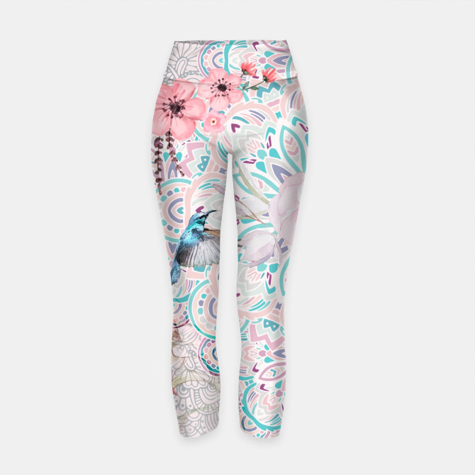 Mandalas flowers and birds Leggings de yoga