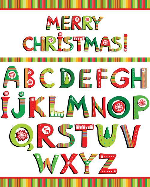 Christmas Alphabet Letters Design Vector Set 02 Christmas