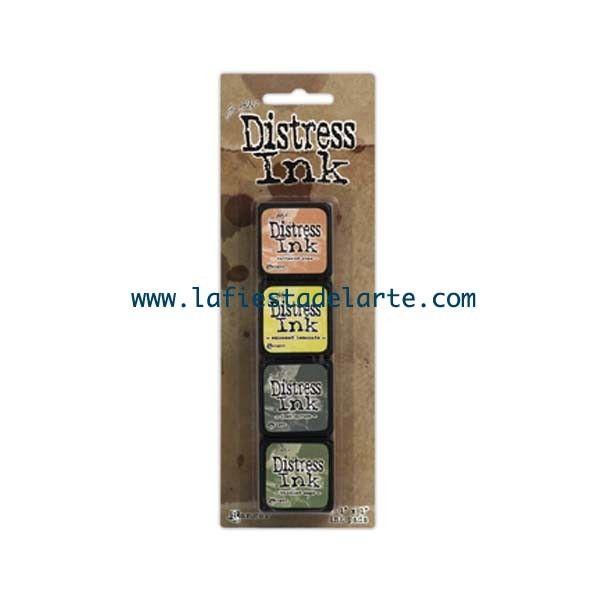 El kit 10 de las Mini Distress Ink Pad contiene las siguientes tintas y almohadillas: Tattered Rose, Squeezed Lemonade, Iced Spruce y Bundled Sage. Tintas disponibles en nuestra tienda online www.lafiestadelarte.com