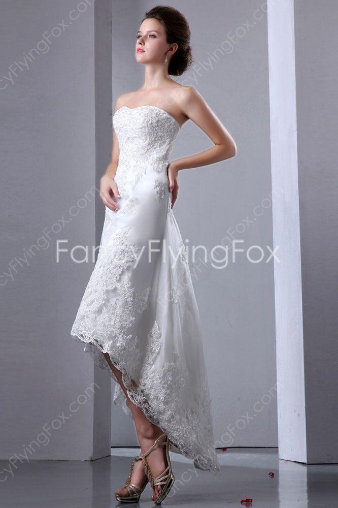 Superb Fancyflyingfox.com Offers High Quality Dipped Neckline A Line High Low Hem  Beach Wedding