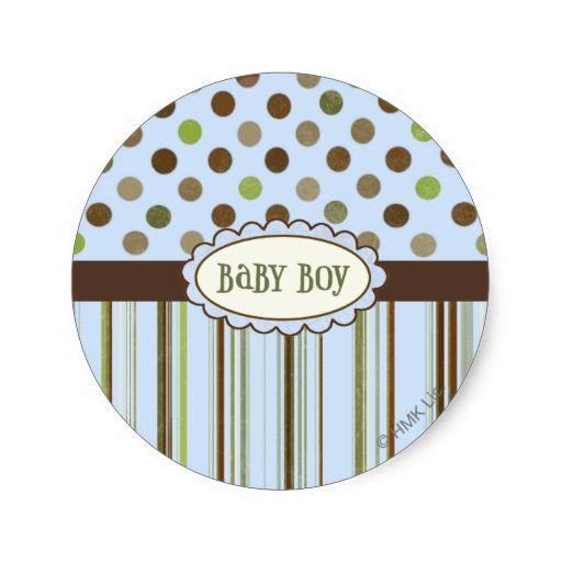 Baby Boy Round Stickers