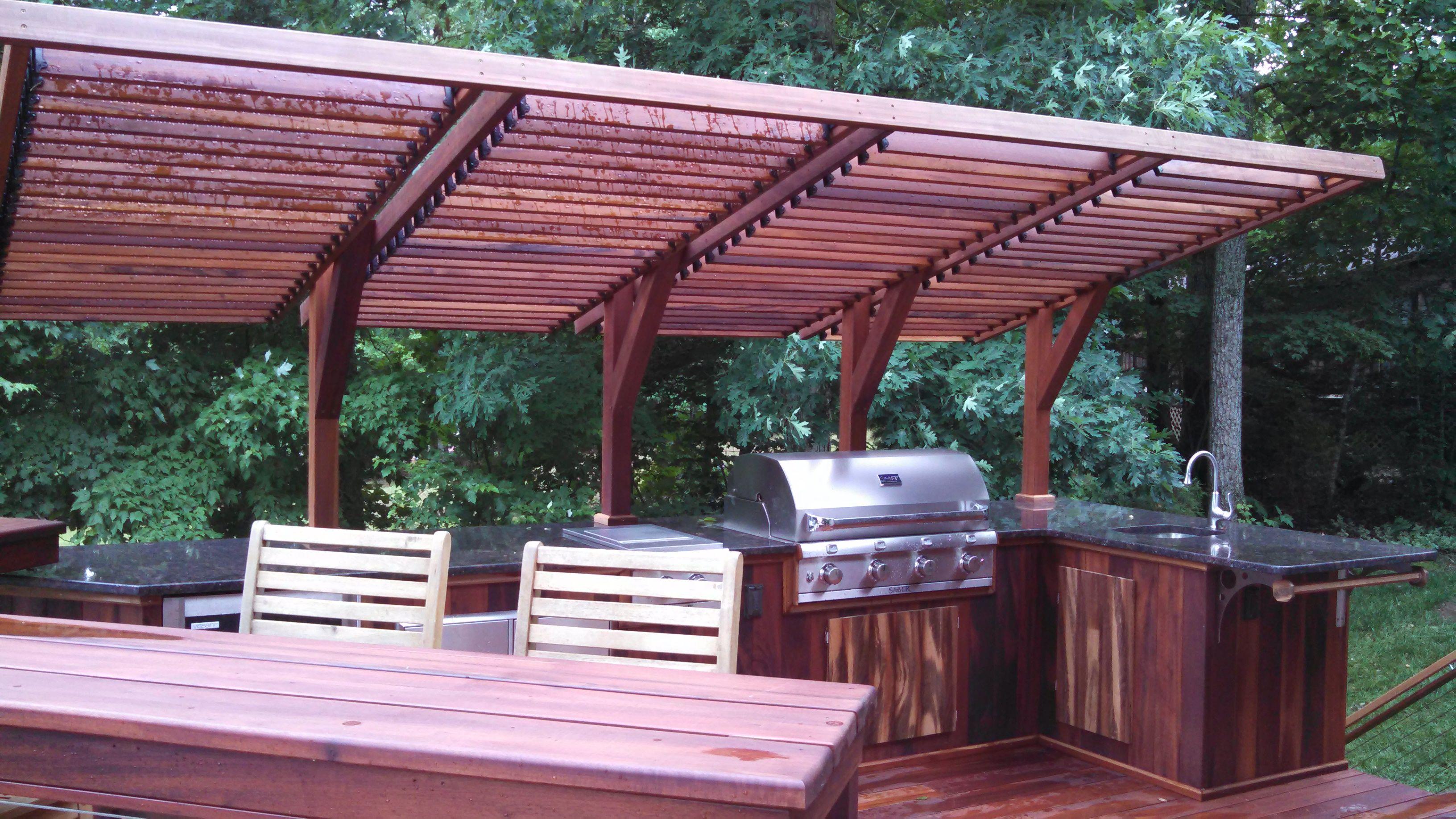 brilliant bbq area using tigerwood created by louis tufillaro