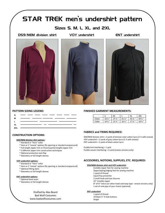 Star Trek Sewing Pattern - Starfleet uniform undershirt - Deep Space ...