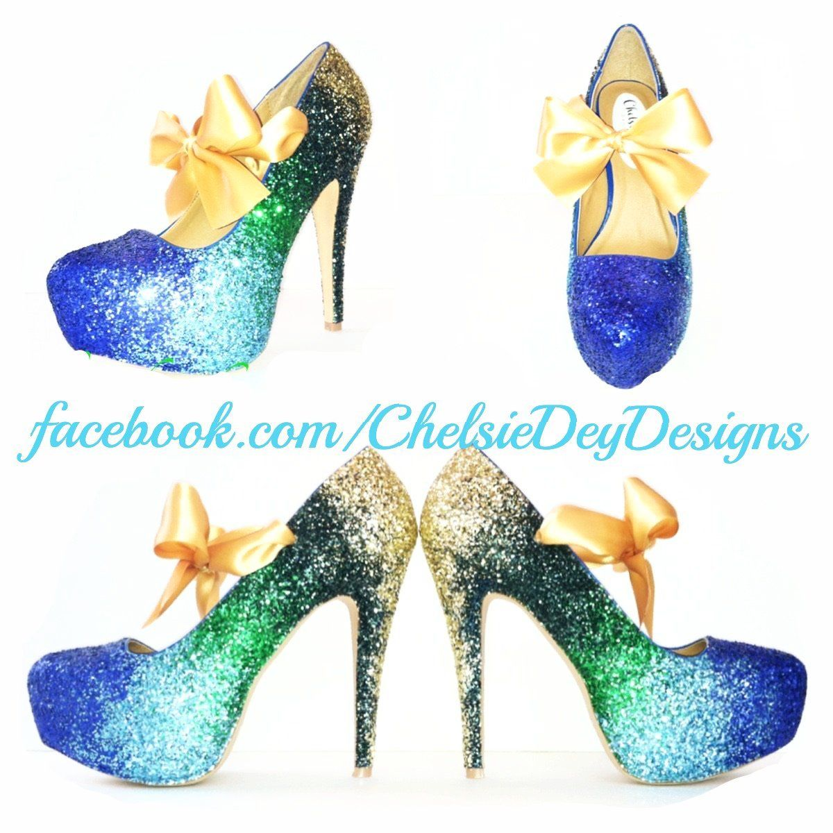cf0d5f054b77 Peacock Ombre Glitter High Heels, Blue Green Gold Platform Pumps ...