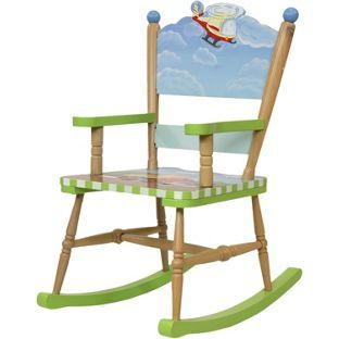 Childrens Wooden Rocking Chair With A Transport Theme   From Fantasy Fields  By Teamson