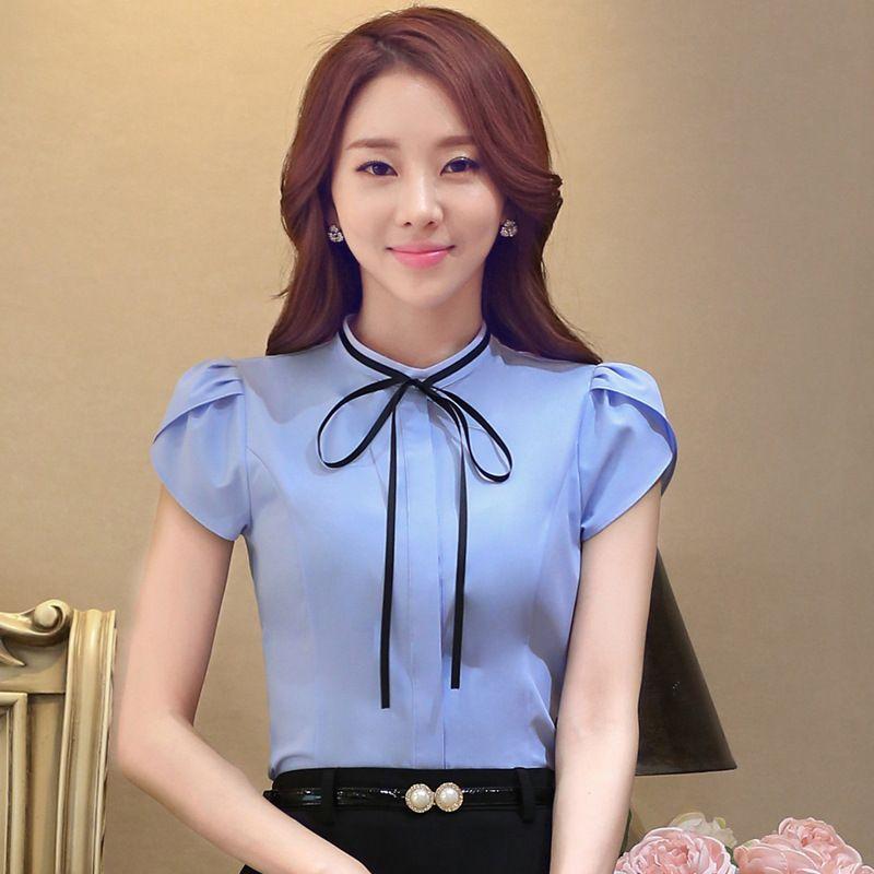 Tienda Online 2016 Summer Tops de manga corta para mujer blusas Formal  Office Lady camisas mujeres blusa de gasa Chemise Femme más el tamaño S-4XL  B552 ... 913625fbf8ba3