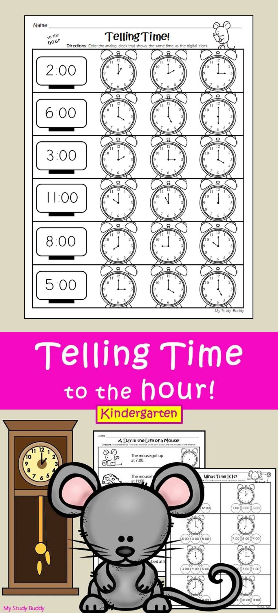 Telling Time To The Hour Digital Analog Clocks Kindergarten