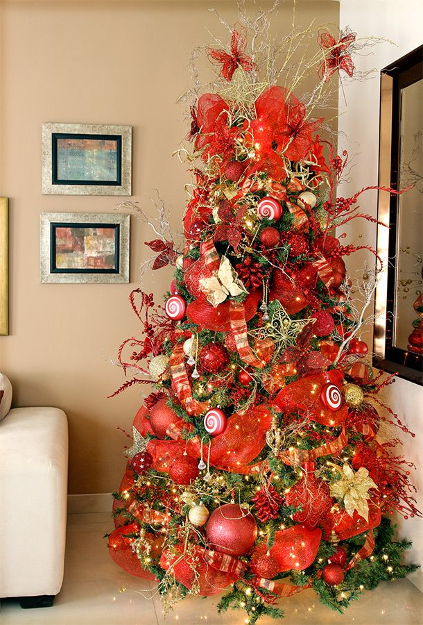 Arbol decorado en naranja intenso google search for Arboles navidenos decorados