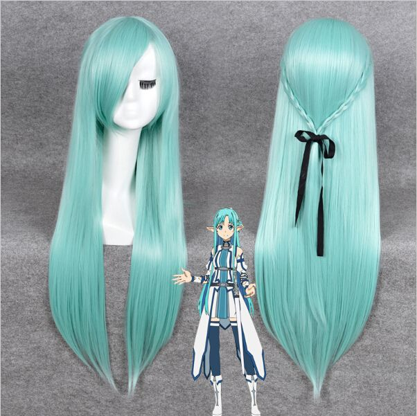 2015 hot sale New Sword Art Online Asuna Yuuki  long straight wig with braid anime cosplay wig green -in Synthetic Wigs from Health & Beauty on Aliexpress.com   Alibaba Group