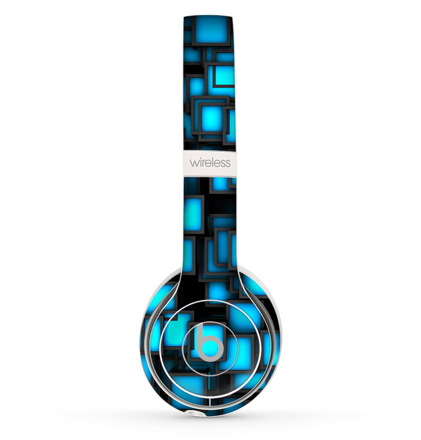The Neon Blue Abstract Cubes Skin Set for the Beats by Dre Solo 2 Wireless Headphones