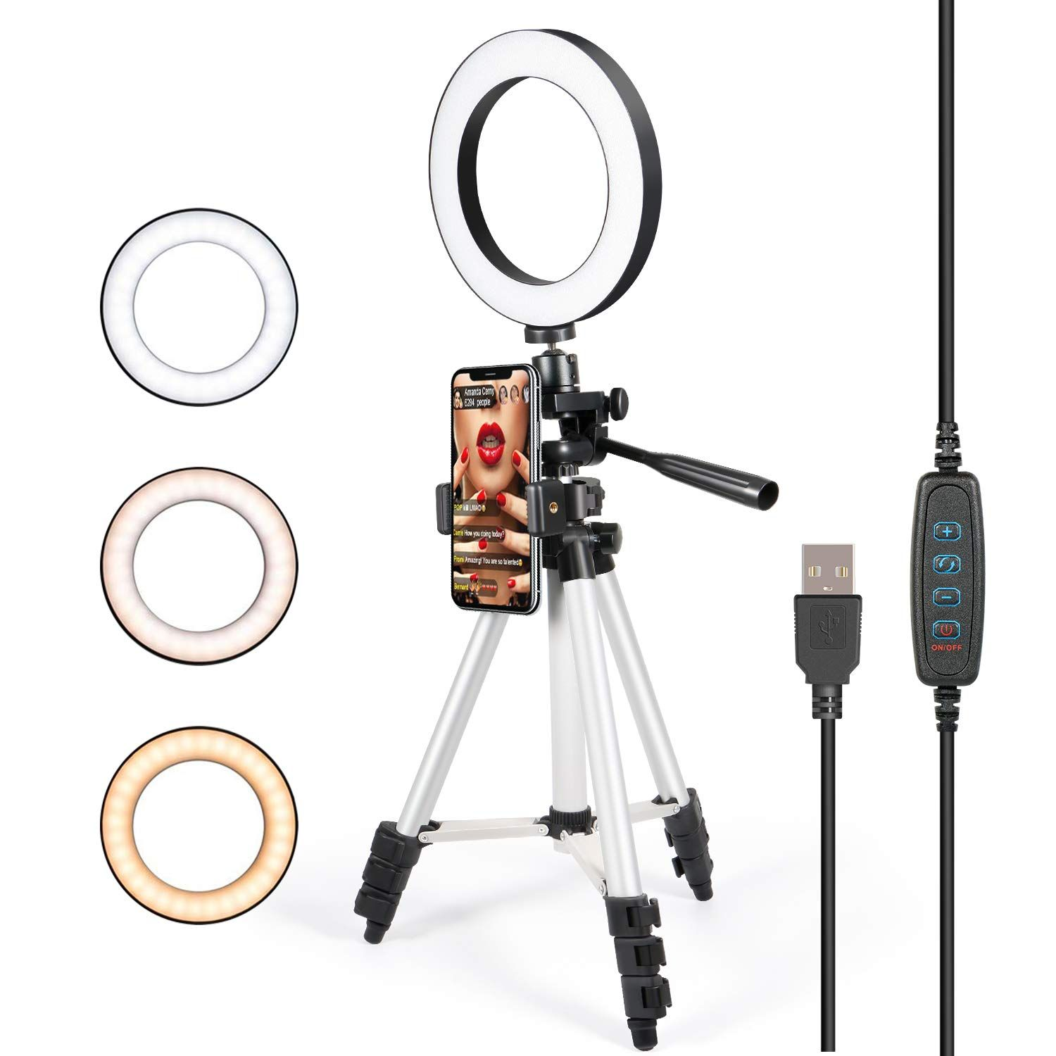 """UBeesize 18/""""//48cm Ring Light Photography Vlogging for Camera and Smartphone Perfect Diva Light for Makeup 3000K-6000K Dimmable LED Bi-Color Ring Light with Stand and Phone Holder YouTube"""