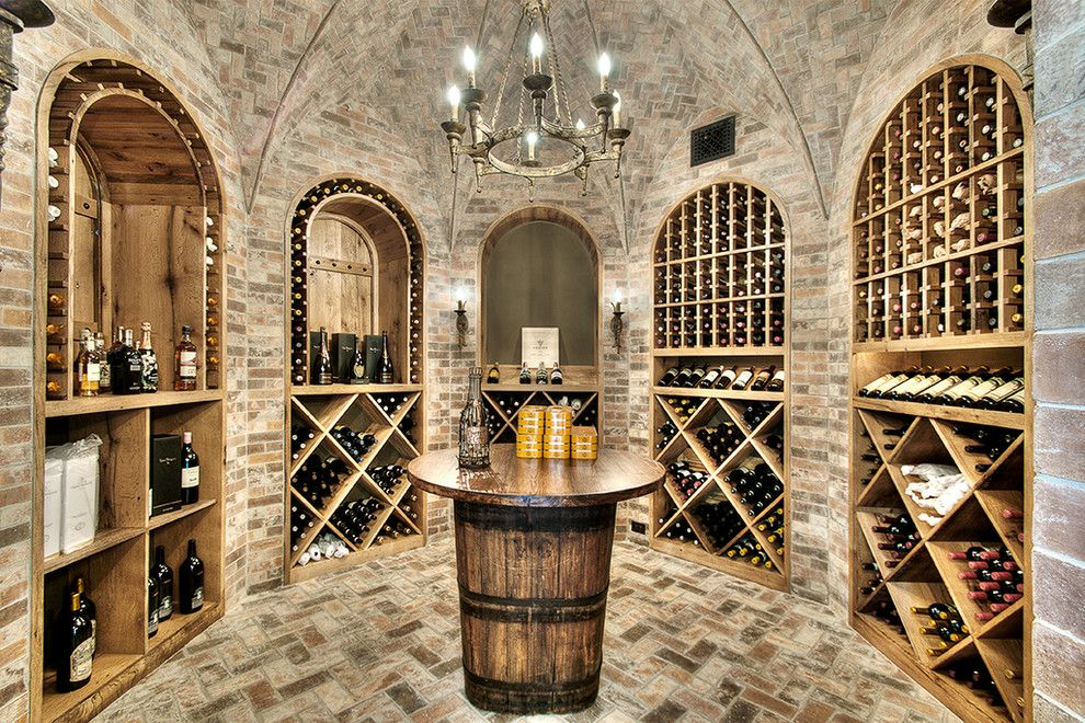 Wine Barrel Chandelier Wine Cellar Traditional With Arches Barrel