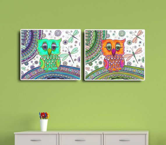 Nursery Wall decor - 2 Owls prints, Owls Dragonflies drawing, Colourful  Fantasy Floral art